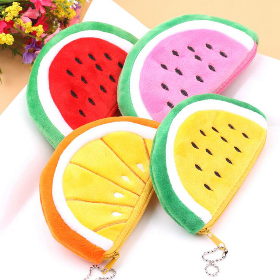 Kawaii Fruits Plush Coin Purse Children Zip Small Change Purse Wallet Women Pouch Money Bag Girl Mini Short Coin Holder Wallet kawaii fresh summer fruits banana