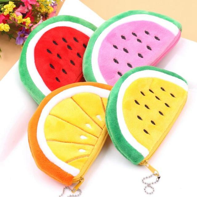 Kawaii Fruits Plush Coin Purse Children Zip Small Change Purse Wallet Women Pouch Money Bag Girl Mini Short Coin Holder Wallet