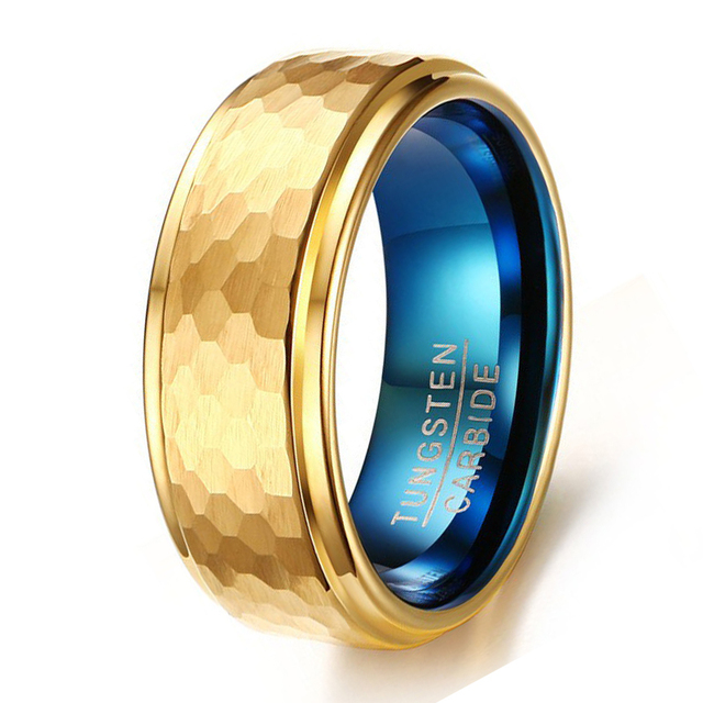 8mm Hammered Finish Men S Tungsten Ring Gold And Blue Plated Wedding Band Multi Faceted Dome