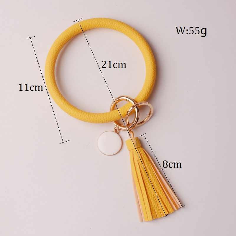 Rainbery nueva moda múltiple lápices borla llavero de cuero de la PU O clave cadena círculo pulsera llavero para mujeres niñas