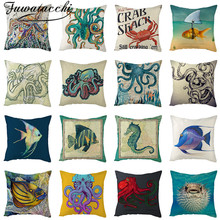 Fuwatacchi Ocean Animals Cushion Cover Marine Fishes Crab Octopus Pillow For Home Decorative Polyester Pillowcases 45*45cm