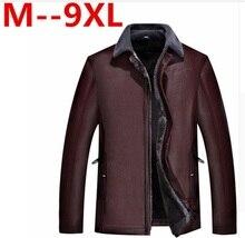 9XL 8XL 7XL 6XL 5XL 4XL Venda Quente de Inverno de Espessura reunindo Jaqueta De Couro Vestuário de couro Ocasional dos homens de Roupas Jaqueta de Couro homens