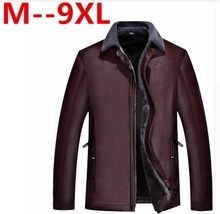 9XL 8XL 7XL 6XL 5XL 4XL Hot Sale Winter Thick Leather Garment Casual flocking Leather Jacket Men's Clothing Leather Jacket Men