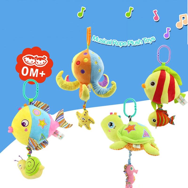 Cartoon Ocean Fish Musical Rope Plush Toys Stuffed Fish Rattles Dolls Music Player Bed Crib Stroller Kids Toys Baby Gift BD013