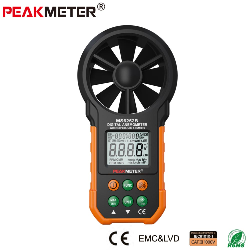 Digital Anemometer Air Temperature Humidity Meter PEAKMETER MS6252B with  RH USB Port digital carbon dioxide monitor indoor air quality co2 meter temperature rh humidity twa stel 99 points memory taiwan made