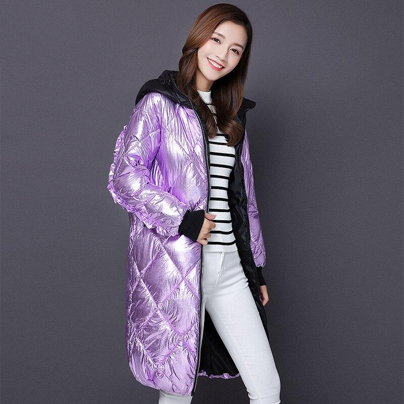 Silver long coat hooded puffer jacket Winter jacket Women Snow wear fashion thicken   parkas   female 2018 NEW warm coat overcoat