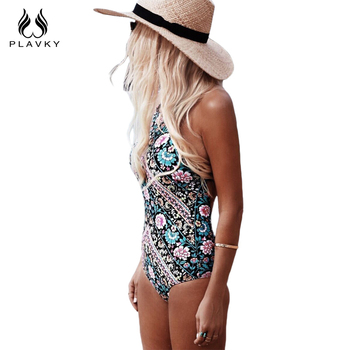 Sexy Women One Piece Swimsuit Retro Floral Monokini High Neck Swimwear Women Halter Bathing Suit Trikini Backless Bodysuit