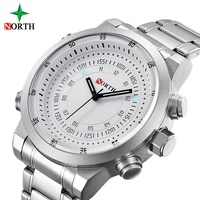 NORTH Brand Luxury Men Watches Silver Stainless Steel Fashion Casual LED Back Light Waterproof Sport Quart Men's Wristwatch