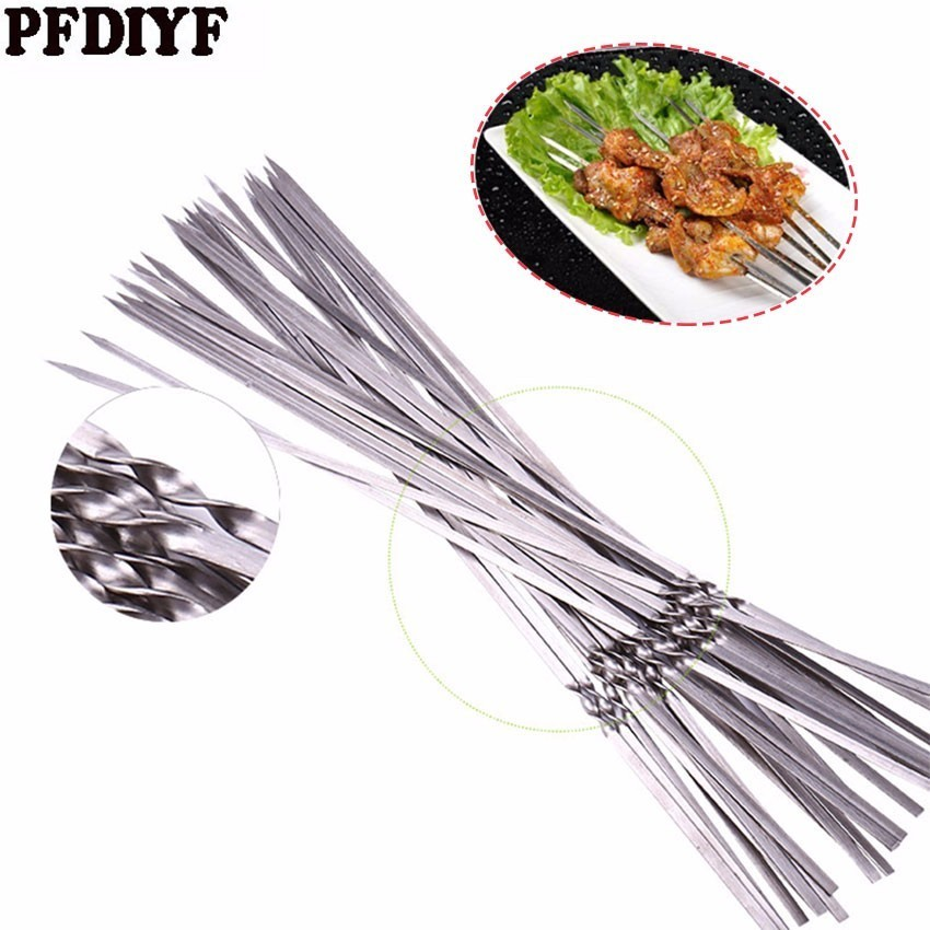 Hot 100pcs Stainless Steel BBQ Tools Barbecue Skewers Thick Reusable Flat Meat Bbq Needle Stick For Outdoor Camping Picnic