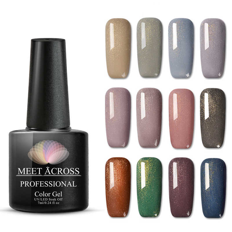 MEET ACROSS 7ml Nude Color UV Gel Holographic Glitter Sequin Semi Permanent Soak Off Nail Art Gel Polish Varnish Manicure Design