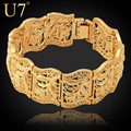 U7 Vintage Bracelet Bangle Plant Pattern New Trendy Yellow Gold Plated Women/Men Jewelry 20CM 22MM Chunky Bracelet H406