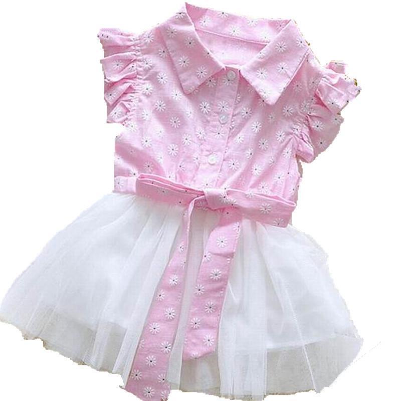 Summer Newborn girls dress bebe kids baby summer dress cotton+lace beautiful flower girl dresses Casual dress for baby clothing