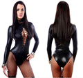 Women Sexy Black Leather Lingerie Bodysuits Erotic Leotard Costumes Rubber Flexible Hot Sexy Latex Catsuit Cat women CostumeD100