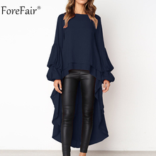 Forefair S-3XL Ruffles Long Sleeve Blouse Women 2018 Autumn Casual Lantern Sleeve Solid Shirt Ladies Tops and Blouse Chiffon
