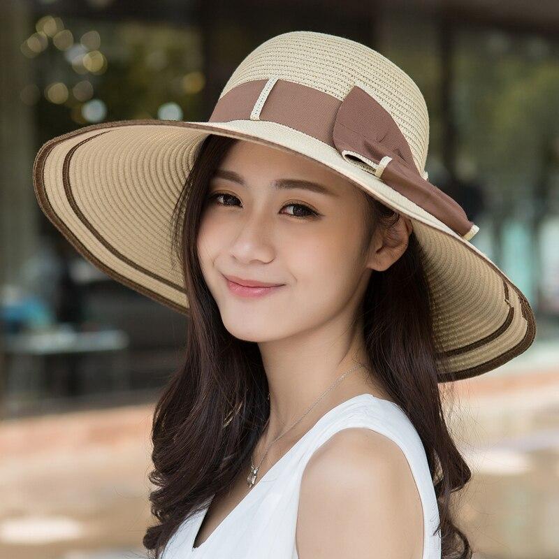 Sun Hat Straw Women Girls Solar Cap Womens Wide Brim Hats Visor Woman s  Beach Bags Flower Straw hat luffy Size Oversized-in Sun Hats from Apparel  ... a8daff9ef98a