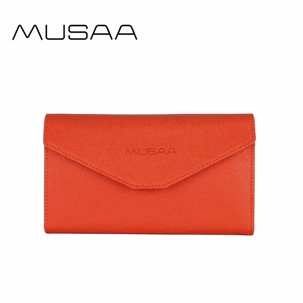 MUSAA Solide Enveloppe Petite porte-monnaie pour femme Carte de Crédit Houder pochette en cuir pu Sac À Main pour Femmes Porte-clés Zipper Coin Sac