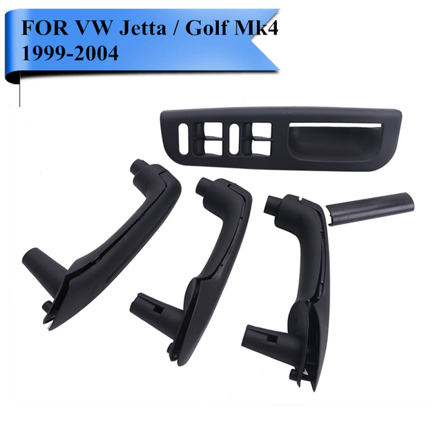 LHD Black Interior Door Grab Handle Cover Window Switch Panel Bezel Set For VW Jetta Golf MK4 GTI TDI GLS 1999 - 2004 #P381