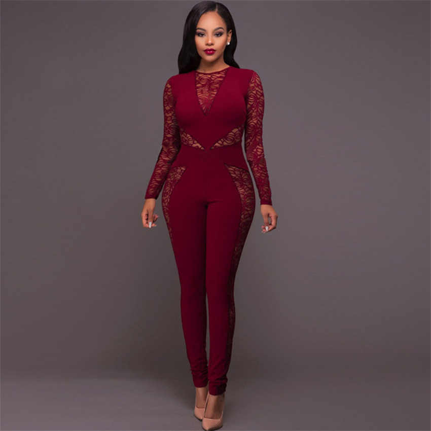 Lace Patchwork Hollow out Jumpsuit Print Sexy nightclub wear Long Sleeve Women Elegant Slim pencil Pants Jumpsuits beachwear