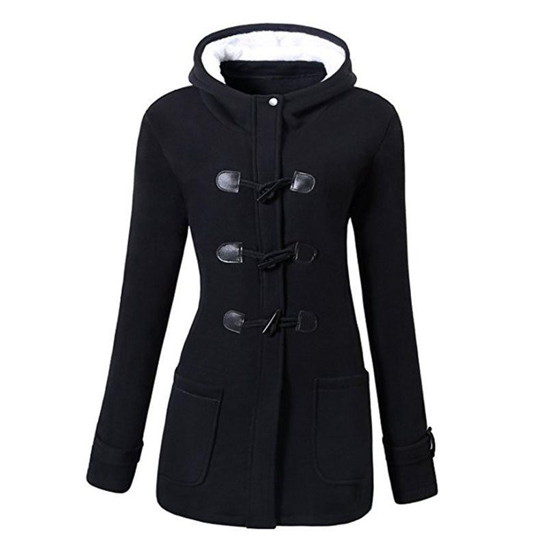 Women Jackets Outwears Overcoats Gothic Plus-Size Winter Hooded Female Slim Black Ladies
