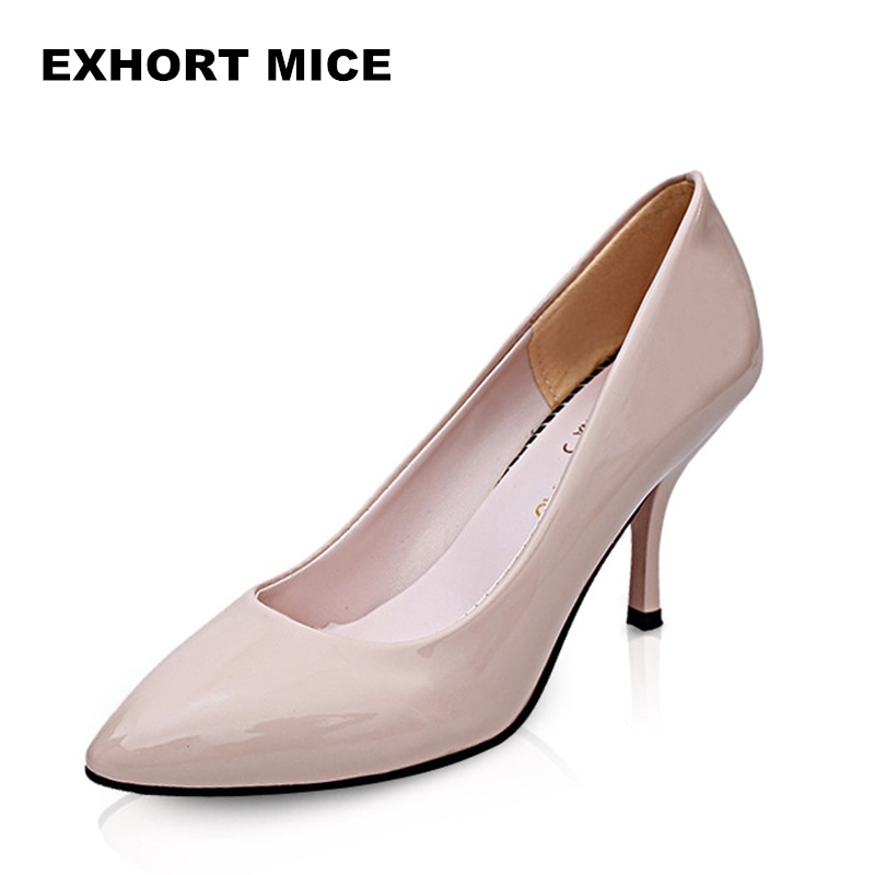 2018 Super High Women Shoes Pointed Toe Pumps Patent Leather Dress Shoes High Heels Boat Shoes Wedding Shoes Zapatos Mujer 8cm 2017 new spring summer shoes for women high heeled wedding pointed toe fashion women s pumps ladies zapatos mujer high heels 9cm