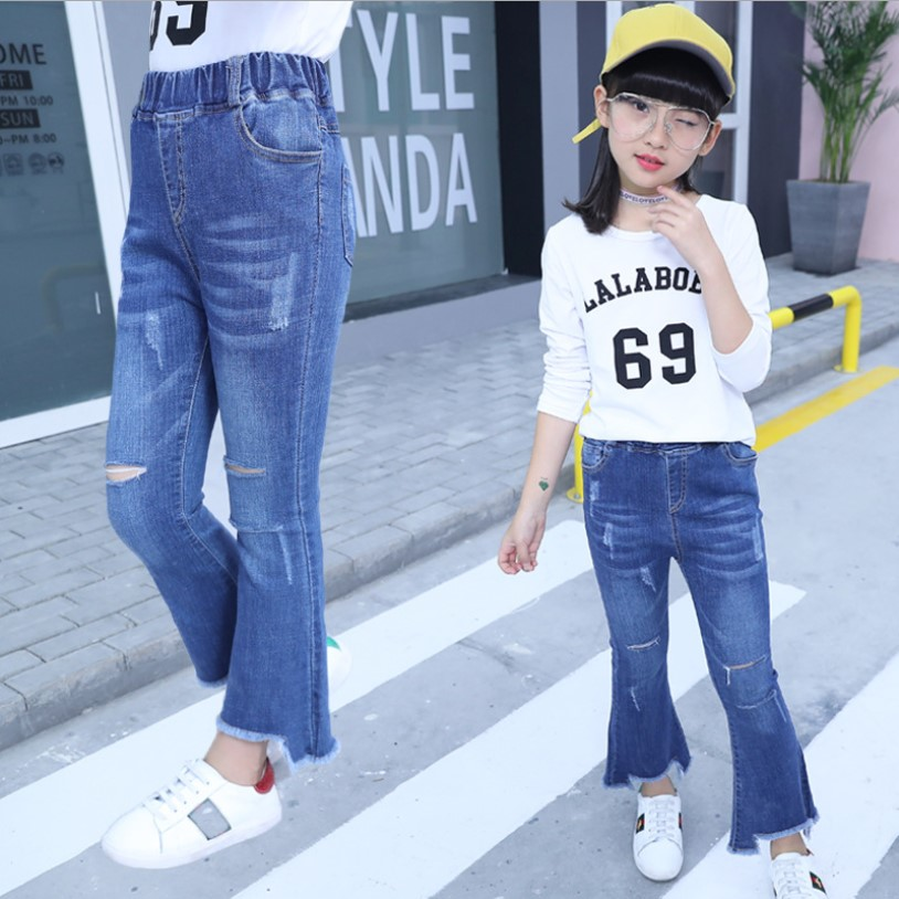 Childrens Clothing 2018 New Spring And Autumn Children Broken Hole Pants Girls Jeans Kids Teens Clothes Denim For Girls 10 Years