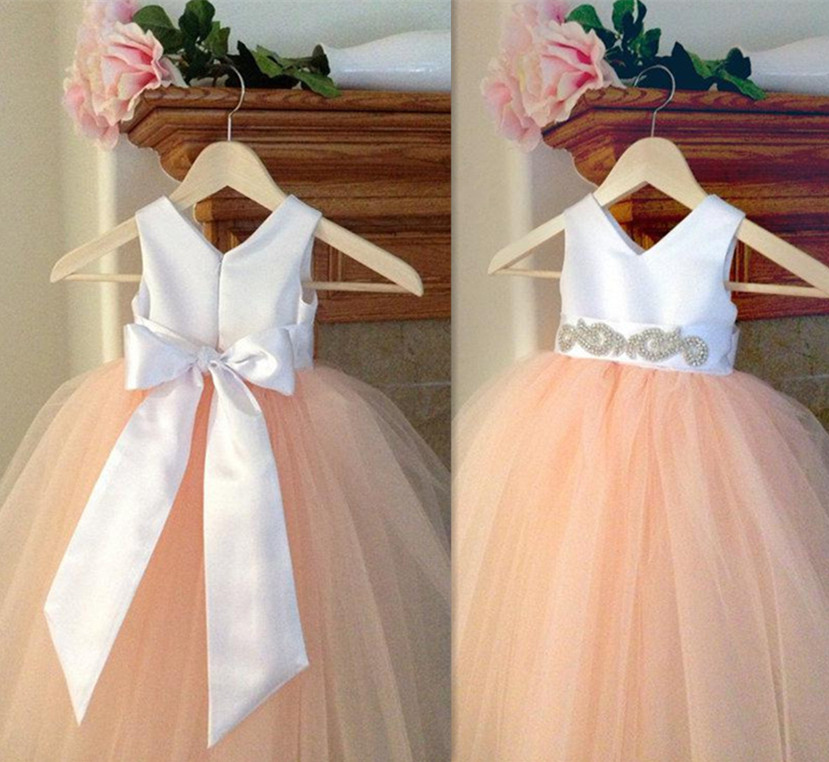 Pretty Pink V Neck Flower Girl Dresses Detachable Sash Satin and Tulle Toddler Tutu Dresses For Wedding ободки pretty mania ободок