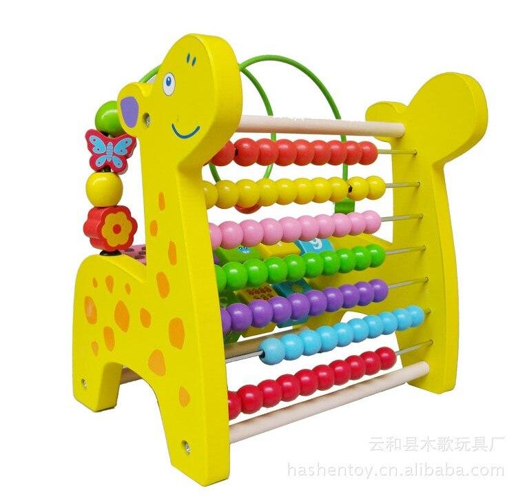 Livraison gratuite! Bébé jouets 2 en 1 animaux Abucase et perles labyrinthe jouet en bois enfant apprentissage Math jouets cadeau