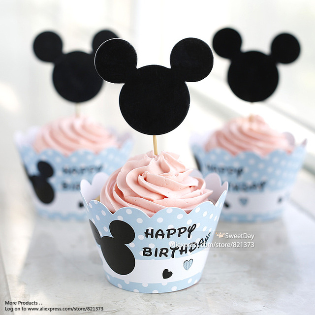 Free Shipping Mickey Mouse Cupcakes Wrappers Toppers Birthday Party