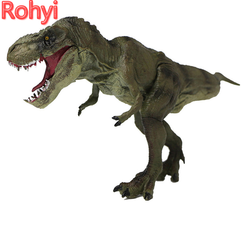 Rohyi Jurassic Tyrannosaurus Rex T-Rex Dinosaur Mouth Can Open Dinossauro Toys Model Action Figures Toys For Kids Birthday Gifts oenux jurassic carnivorous giganotosaurus t rex mouth can open pvc dinosaurs model action figures toys for boy s gift