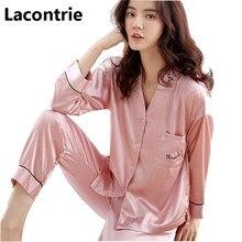 Купить с кэшбэком Lacontrie 2018 Spring Fall Women Turn Down Collar Loose Pajamas Sets High-end Soft Sleepwear Shirts+Long Pants Home Clothes T173