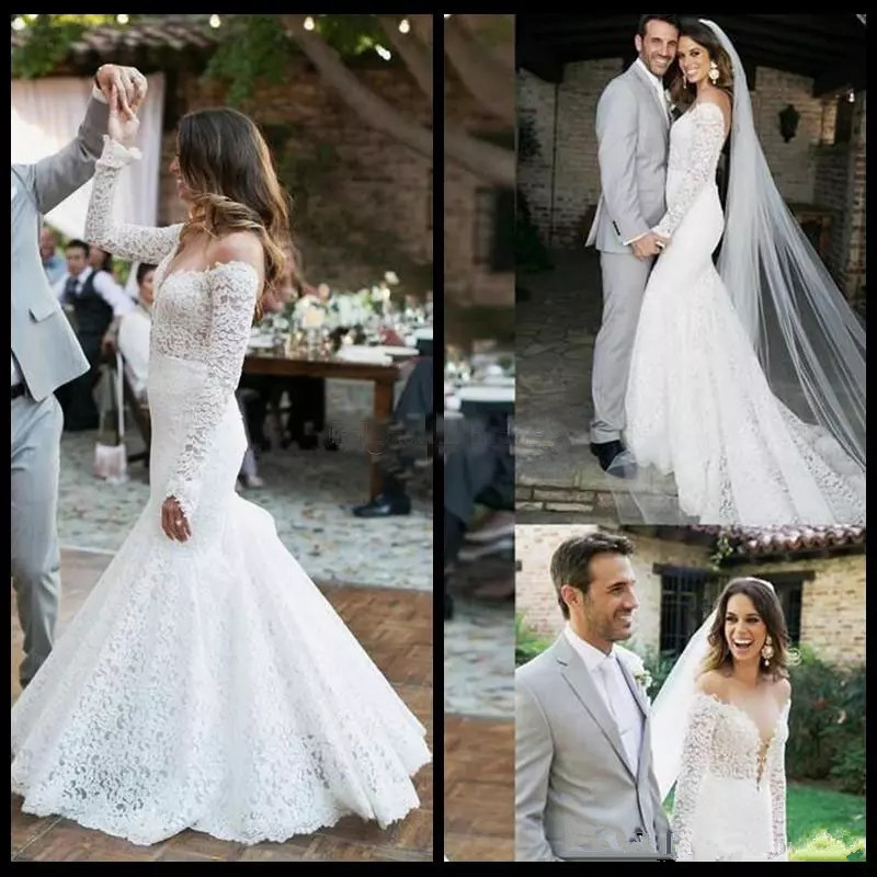 Vintage Full Lace 2019 Sexy Wedding Dresses Mermaid Long Sleeves Bridal Gowns Bateau Neck Sweep Train Wedding Reception Dress Weddings & Events