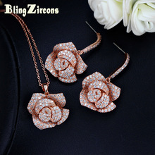 BlingZircons Romantic Rose Gold Color Big Flower Pendiente colgante, collar colgante, conjunto, cúbico, circonio, cristal, Weddind, joyería, JS113