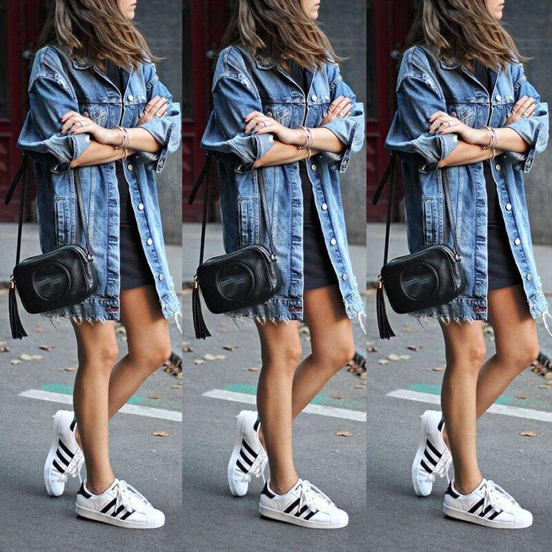 HTB1CnUdLHvpK1RjSZFqq6AXUVXaZ Women's Basic Coat Holes Baggy Denim Jacket Long Sleeve Loose Street Style Outwear Winter NEW
