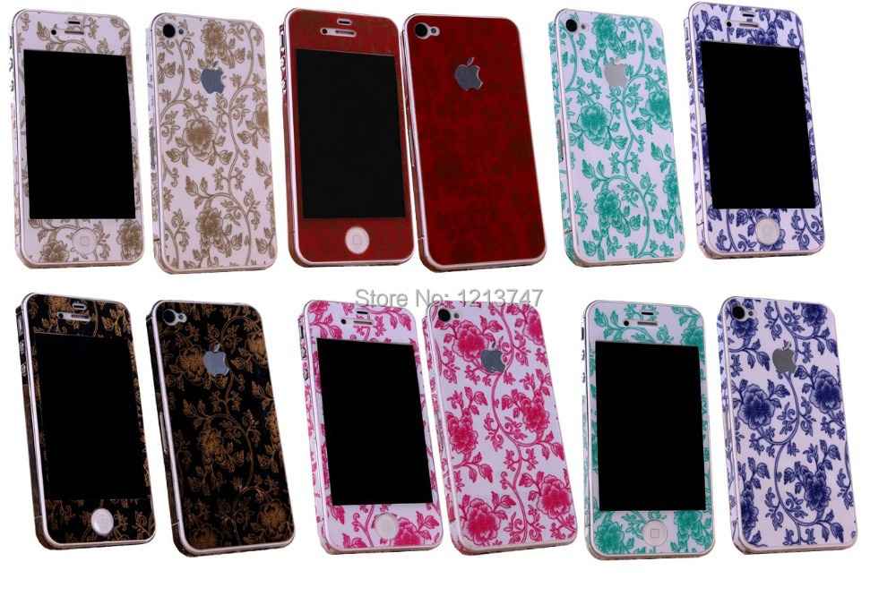 new products d96c9 baeb1 US $3.99 |For iPhone 4 4s Colorful Sticker Full Body Protector Skin Sticker  Floral Sticker Flower Decal Screen Protector for Iphone 4 / 4S on ...