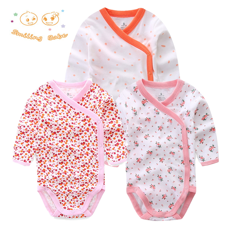 Smiling Babe 3 PCS/lot Fashion Baby Bodysuits Infant Jumpsuit Long Sleeve Baby Clothing Set Summer Christmas Baby Girl Clothes