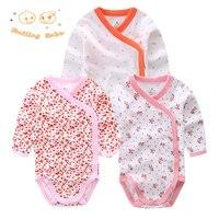 Smiling Babe 3 PCS Lot Fashion Baby Bodysuits Infant Jumpsuit Long Sleeve Baby Clothing Set Summer