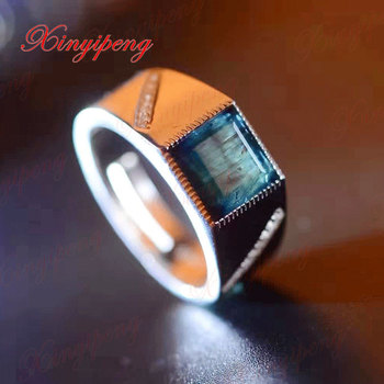 925 sterling silver with 100% natural sapphire  ring Men's with Luxury and generous A wedding gift