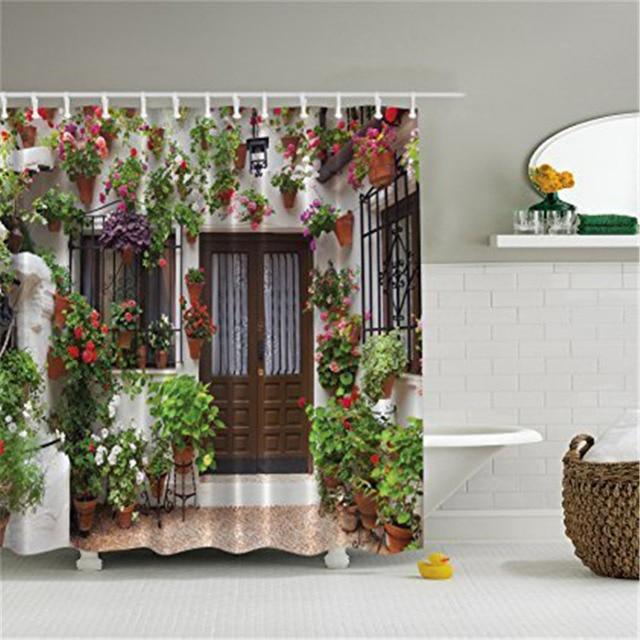 High Quality Polyester Mildew Waterproof Shower Curtain Grass Flower ...