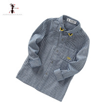 2017 Spring Cotton  3 Colors Bule Gray Beige Embroidery Folding Collar Long sleeve Boy's Shirt Clothes for Kids