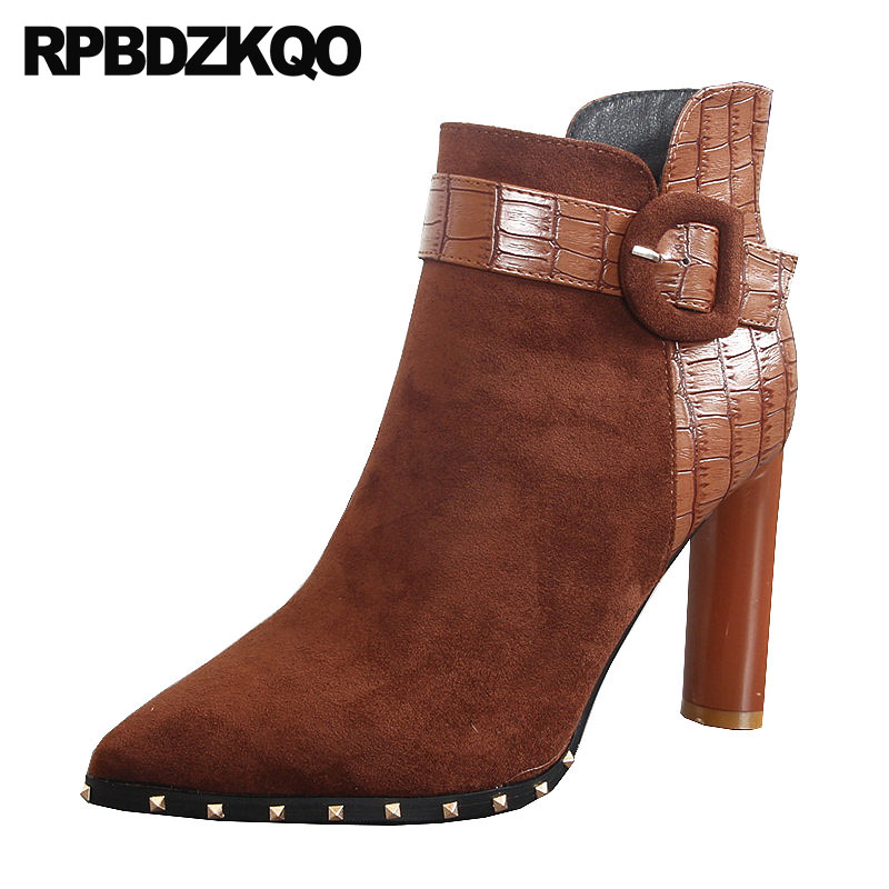 где купить Vintage Winter Snow Boots Women Ankle Booties Brown Shoes High Heel Suede Stud Army Rivet 2018 Pointed Toe Fashion Chunky Short по лучшей цене