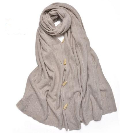 100 Cashmere winter solid warm scarf button large soft shawl