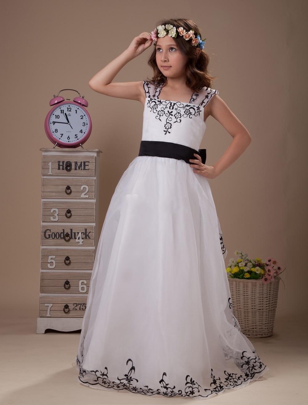 Black And White Flower Girl Dresses For Weddings Embroidery Girls
