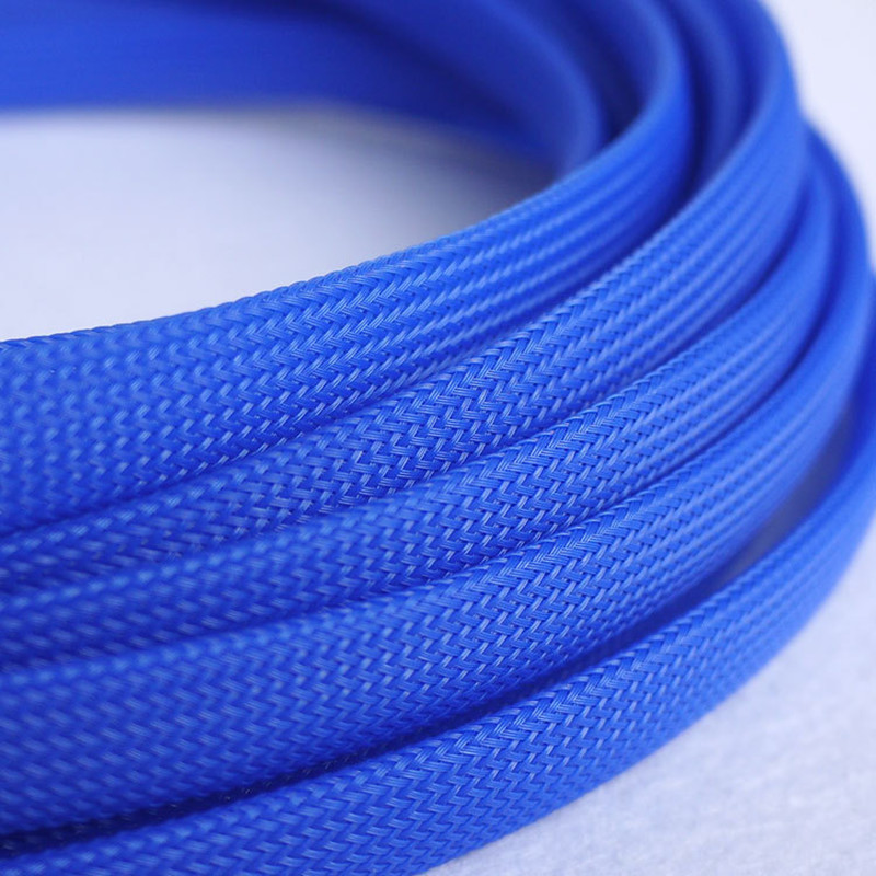 1M Blue 12mm Braided PET Expandable Sleeving High Density Sheathing Plaited Cable Sleeves