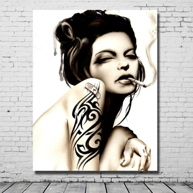 Free shipping nude girl without dressing tattoo body picture modern art  painting for home sense decor