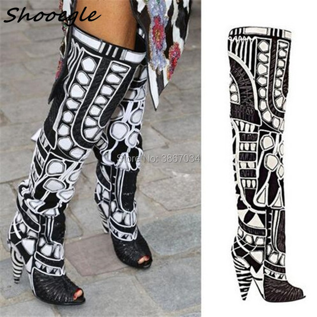 330a3466c652 SHOOEGLE Rihanna Black White Open Toe Summer Motorcycle Women Boots Over  Knee High Gladiator Sandals Boots Spike High Heel Shoes