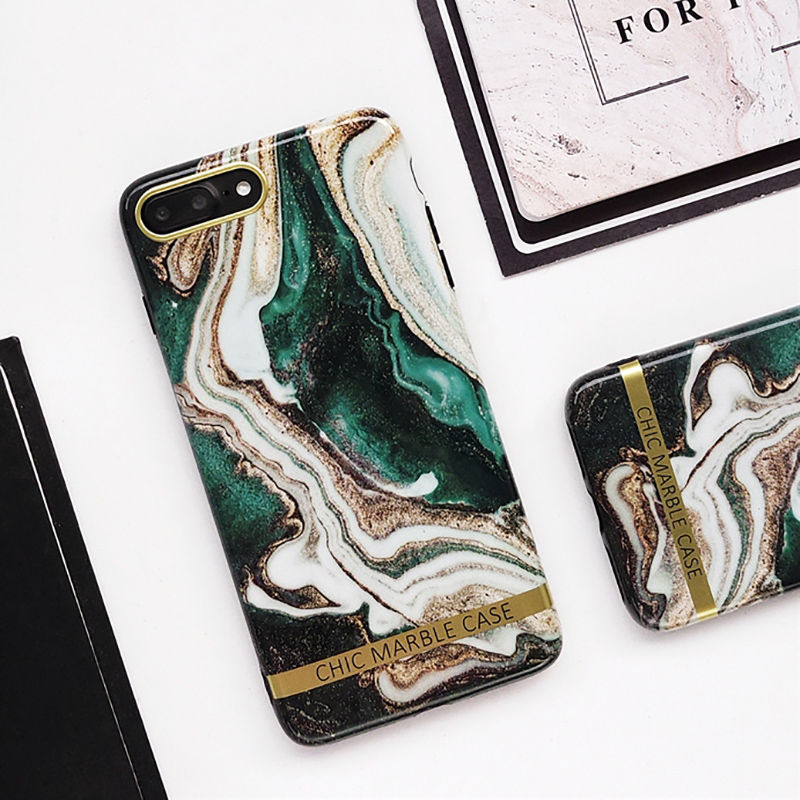 Text - Artistic Agate Marble Gold Bar Phone Case For iphone XS XR XS Max 6 6S 7 8 Plus