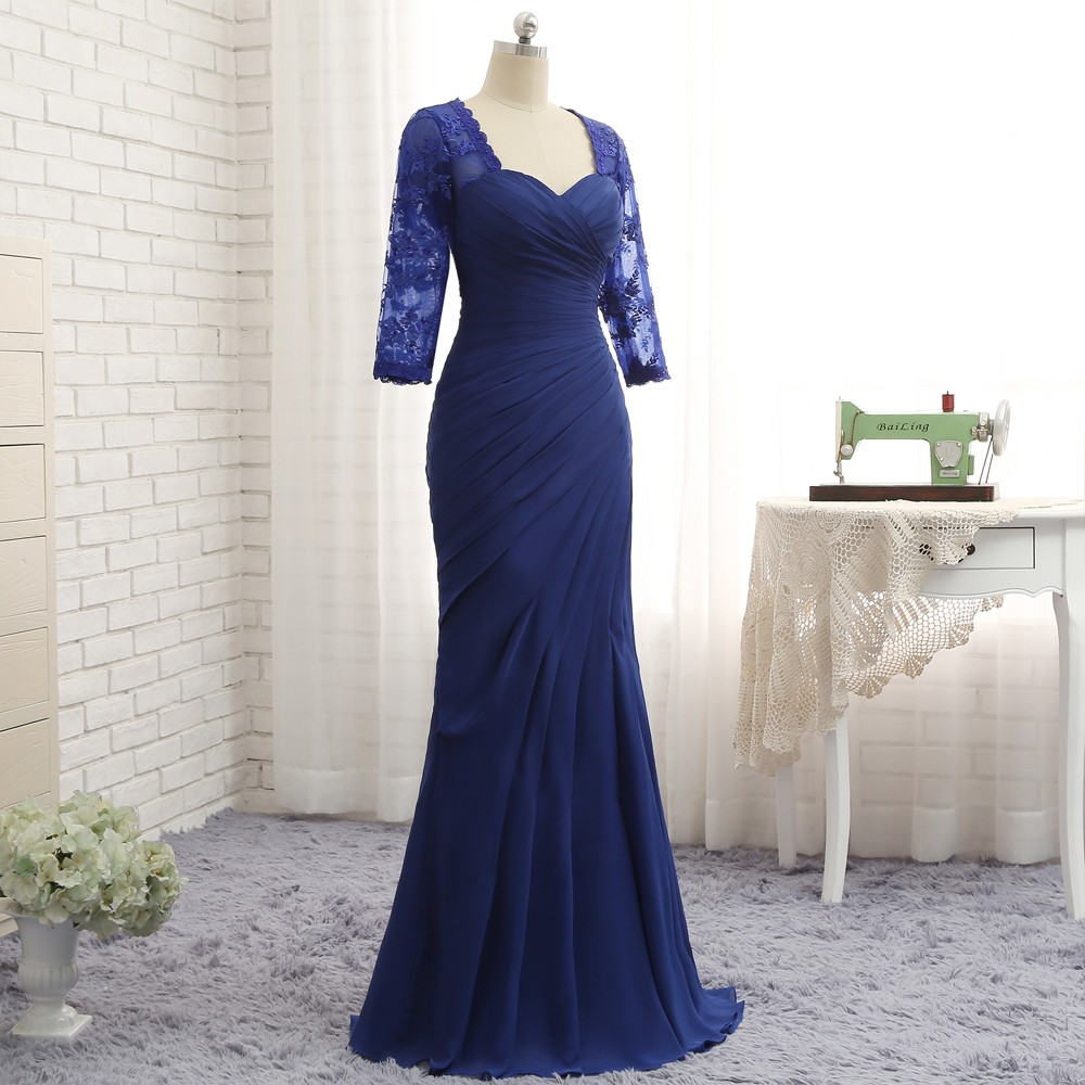 Royal Blue 3/4 Sleeves Lace Long Mermaid Mother Of The Bride Dress