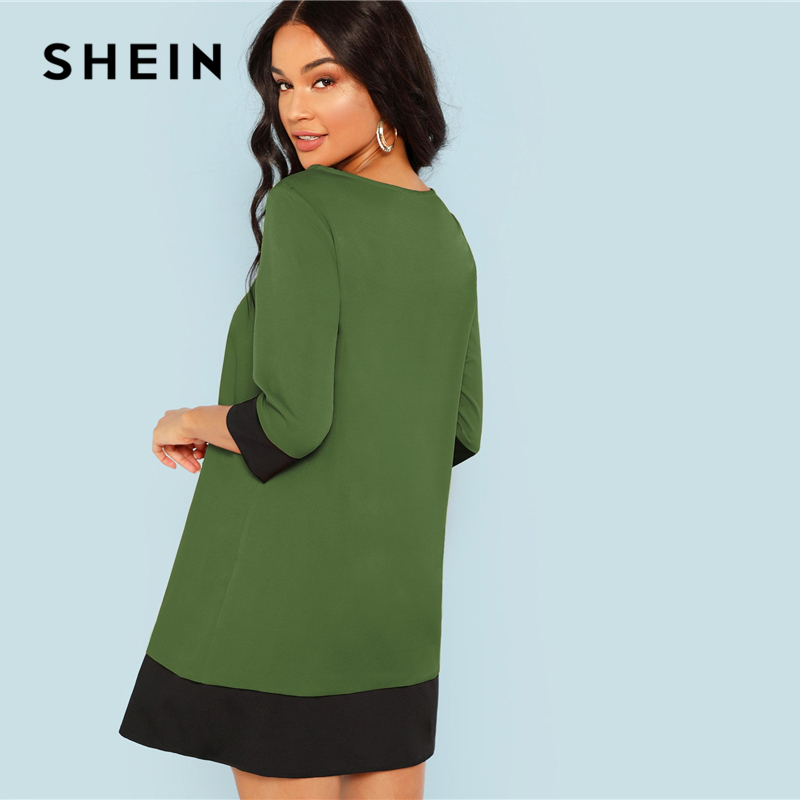 SHEIN Green Going Out Contrast Trim Tunic Dress Women's Shein Collection