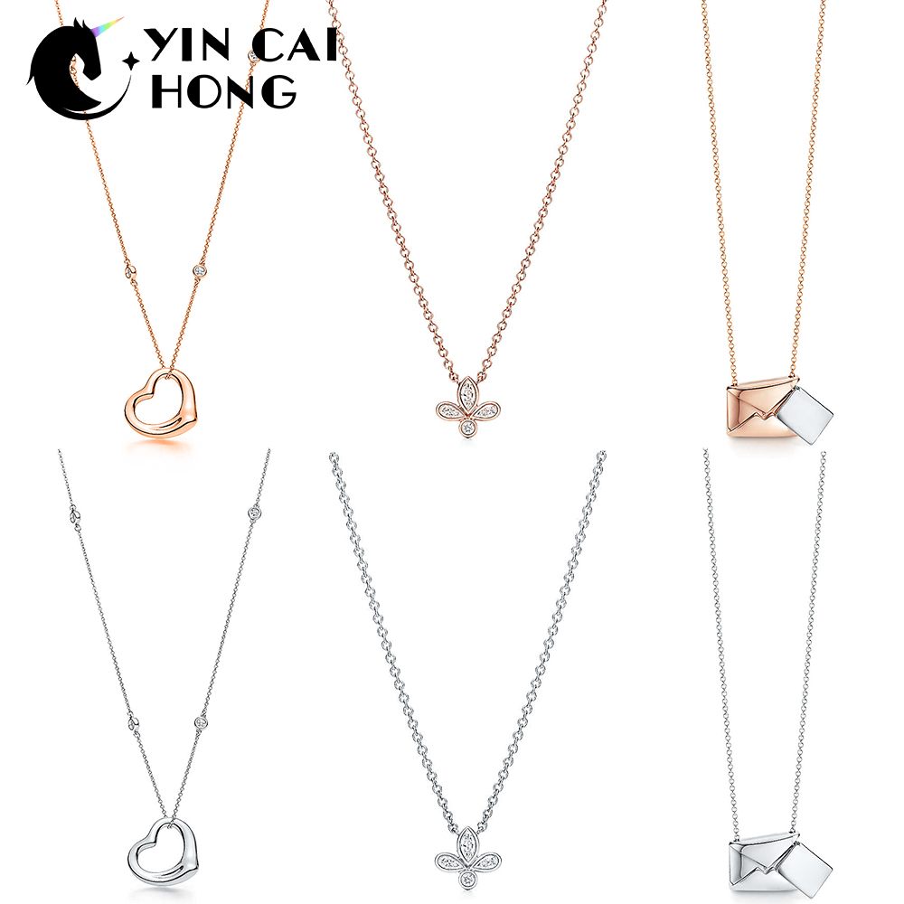 3901629d78b YCH Charm 925 Sterling Silver Classic Rose Gold Love Necklace Clover Pendant  Envelope Clavicle Chain Fashion
