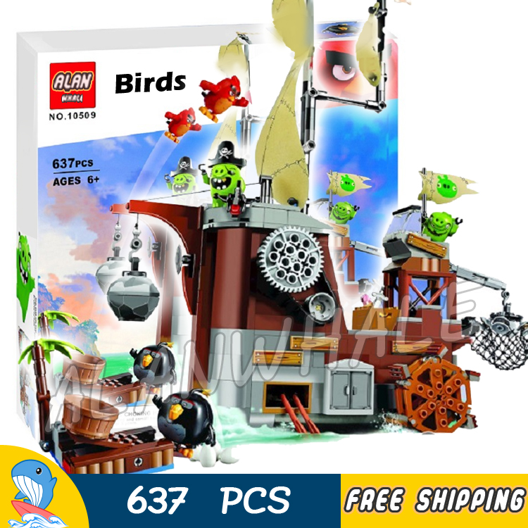 637pcs The Birds Movie Piggy Pirate Ship 10509 Building Blocks Model Children Toys Games Action Bricks Gift Compatible With Lego lepin 22001 pirate ship imperial warships model building block briks toys gift 1717pcs compatible legoed 10210
